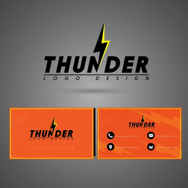 Name card template thunder logo decor Free vector in Adobe - name card format