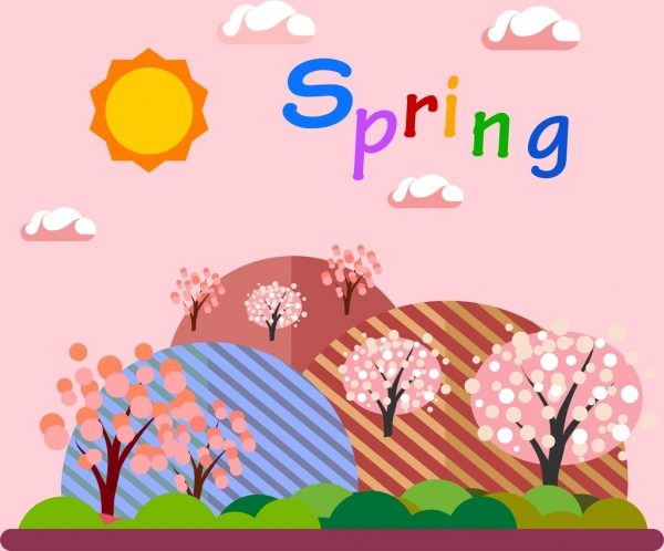 Natural spring background colorful cartoon style Free vector in