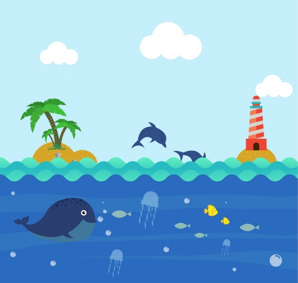 Ocean background colorful cartoon design playful dolphin icons Free