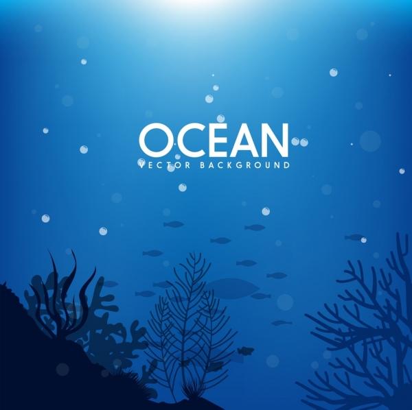 Ocean background deep sea icon dark blue design Free vector in Adobe