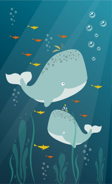 Ocean background whales icons colorful cartoon design Free vector in