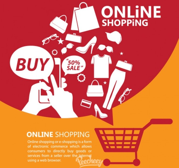 Online shopping promotion poster Free vector in Adobe Illustrator ai