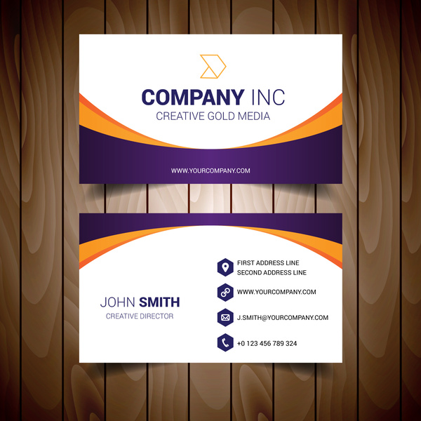 Orange and purple bordered white business card Free vector in Adobe