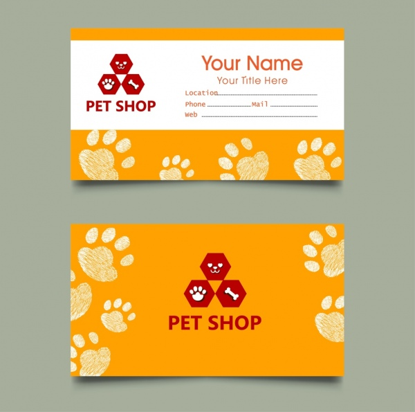 Pet shop name card templates footprints decoration Free vector in