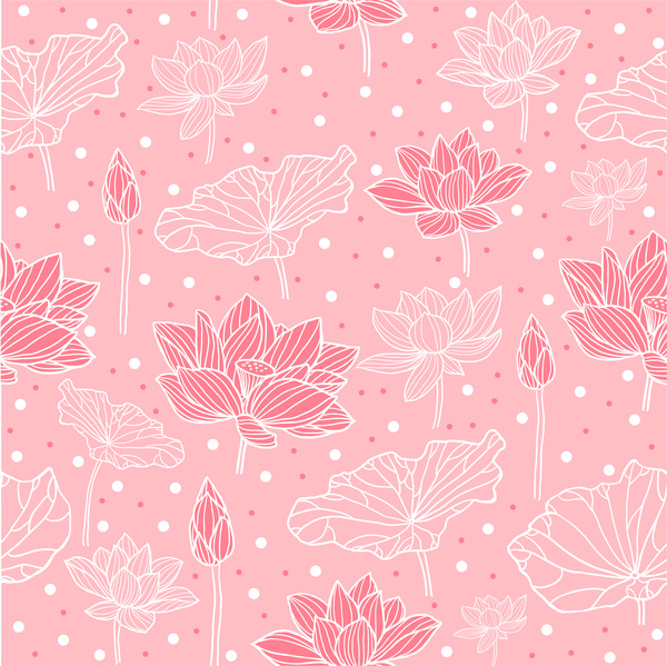 Pink background design with lotus flowers Free vector in Adobe