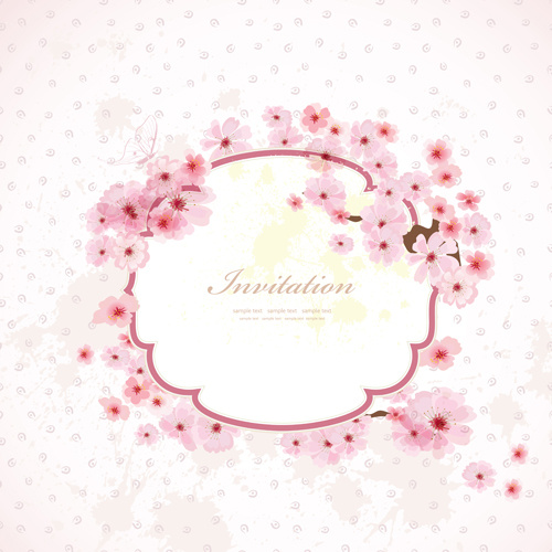Pink flower frame wedding invitation cards vector Free vector in - frame for cards