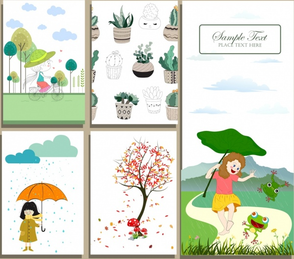 Postcard cover templates childhood season plants icons Free vector