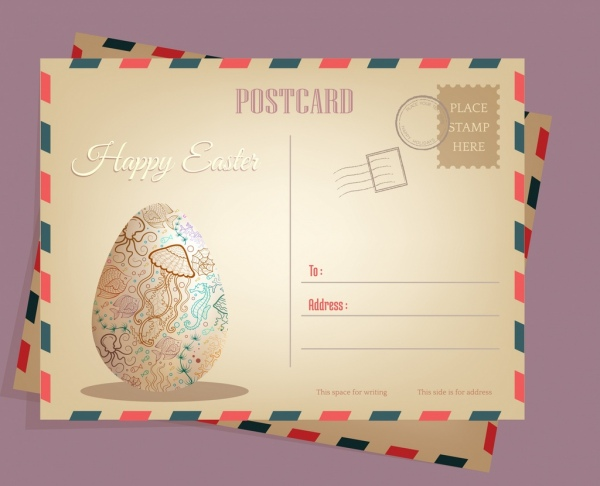 Postcard envelop template easter egg decor classical design Free