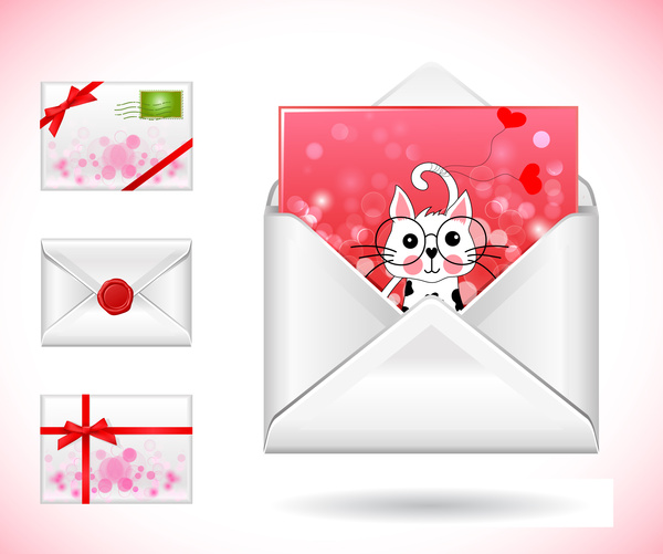 Postcards envelope vector illustration with cute style Free vector