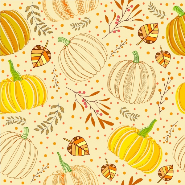 Fall Patterns Wallpaper Pumpkin Background Multicolored Handdrawn Repeating Sketch