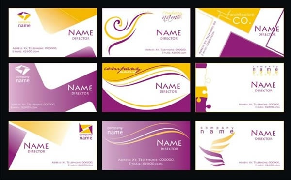 Name card templates abstract design yellow purple ornament Free