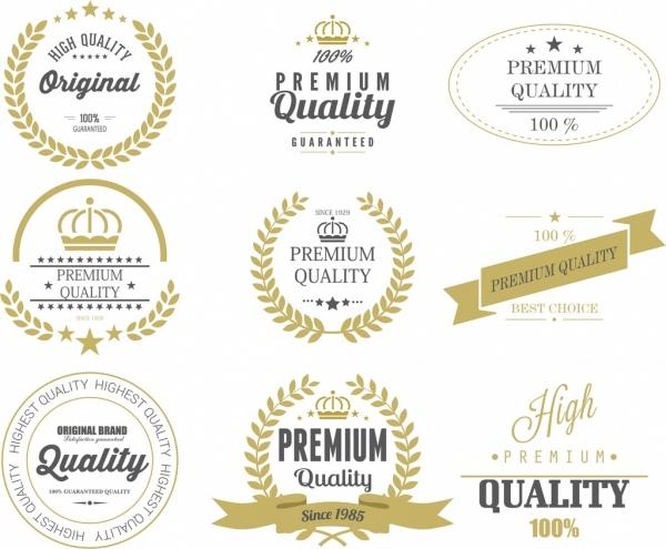 Quality labels templates vintage design star texts decoration Free