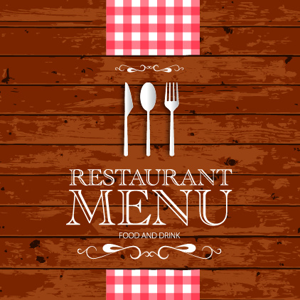 Restaurant menu with wood board background vector Free vector in