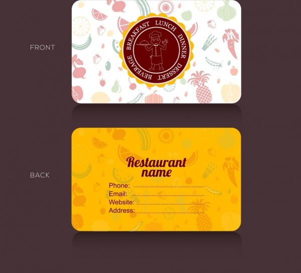 Name card template potato icon yellow vignette decor Free vector - name card