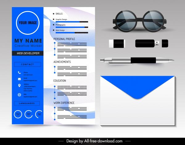 Resume template modern blue white blurred decor Free vector in Adobe
