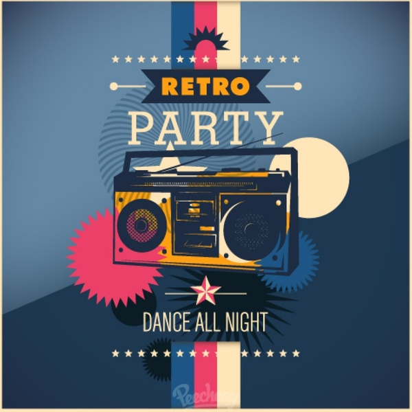 Fire And Water Hd Wallpapers Retro Party Poster Free Vector In Adobe Illustrator Ai