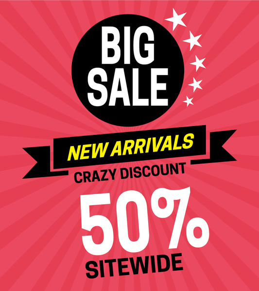 Sale poster on red rays background with stars Free vector in Adobe