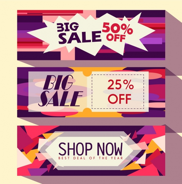 Sales banner templates colorful modern decor Free vector in Adobe