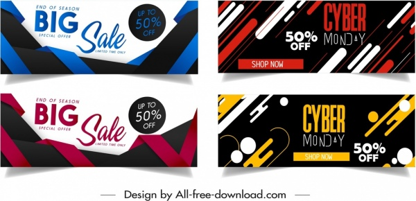 Sales banner templates colorful modern dynamic decor Free vector in