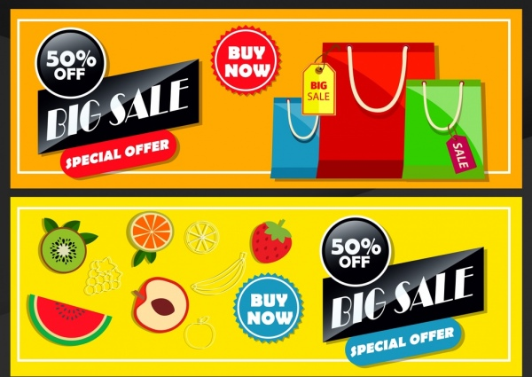 Sales banner templates fruit bags icons colorful design Free vector