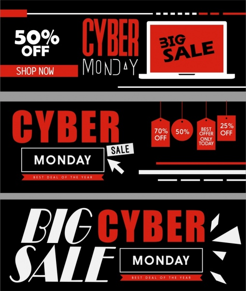 Sales banners templates black red horizontal design Free vector in