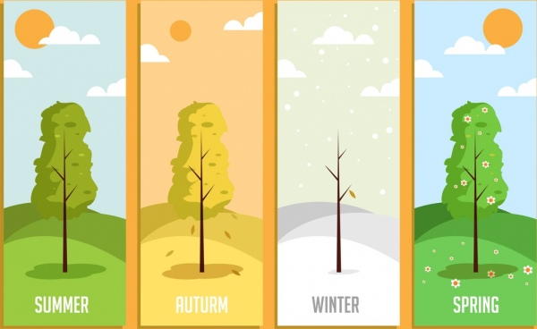 Season background templates tree weather icons decor Free vector in