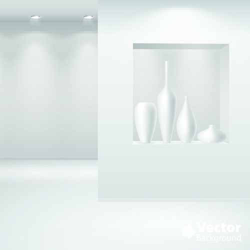 Set of empty white interior backgrounds design vector Free vector in