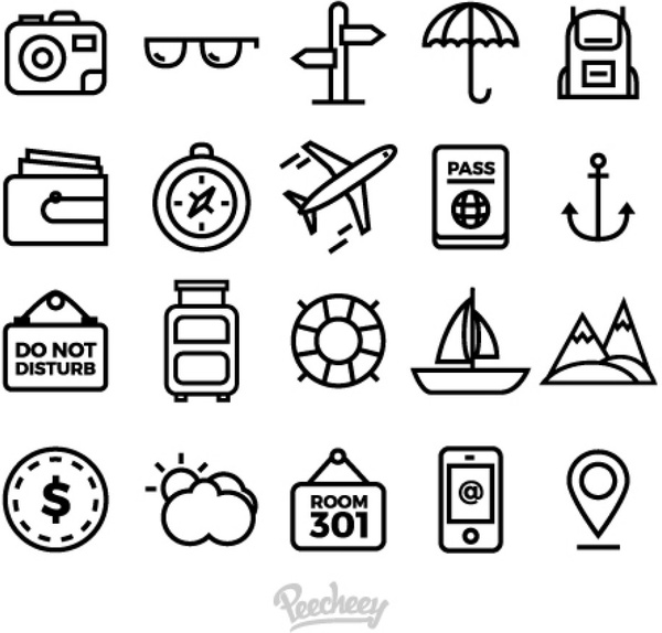 Simple Car Wallpapers Set Of Simple Travel Icons Free Vector In Adobe