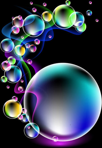 Emo Cartoon Girl Wallpapers Shiny Colorful Bubble With Abstract Background Free Vector
