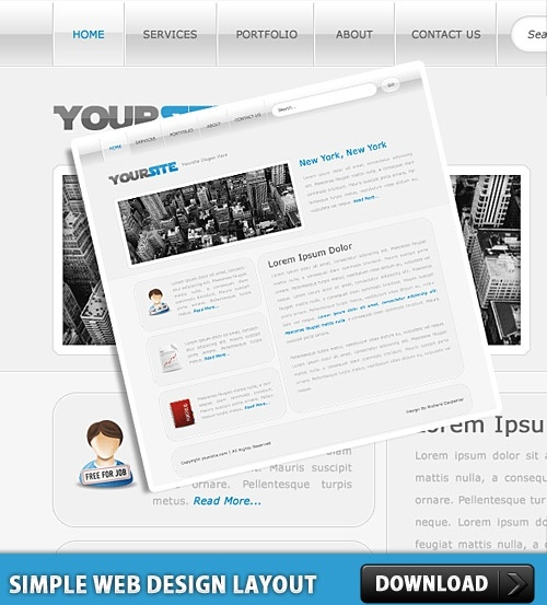 Simple Web Design Layout PSD Free psd in Photoshop psd ( psd ) file