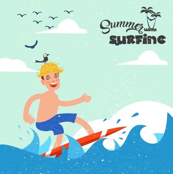 Summer vacation banner boy surfing icons colored cartoon Free vector
