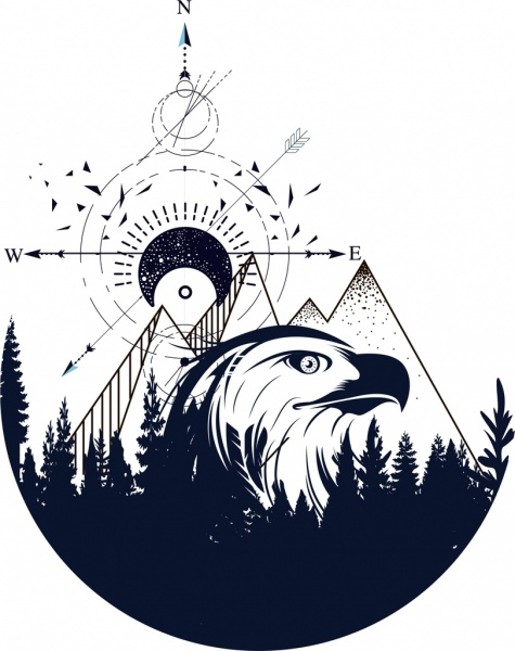 Tattoo template eagle mountain navigator sketch tribal decor Free - tattoo template