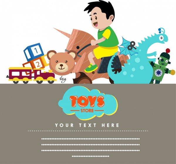 Toy store banner boy toys icons decor Free vector in Adobe