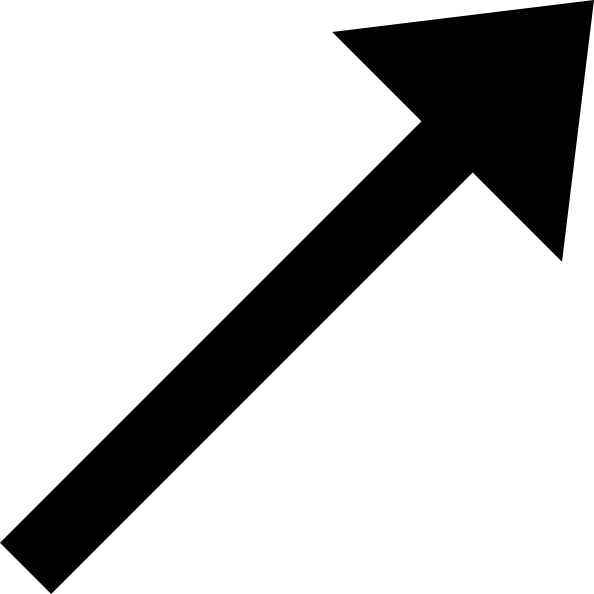 Up Right Black Arrow clip art Free vector in Open office drawing svg