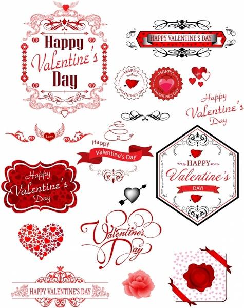 Valentine day label Free vector in Adobe Illustrator ai ( AI