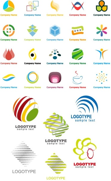 Variety of graphic logo template vector Free vector in Encapsulated - text logo template