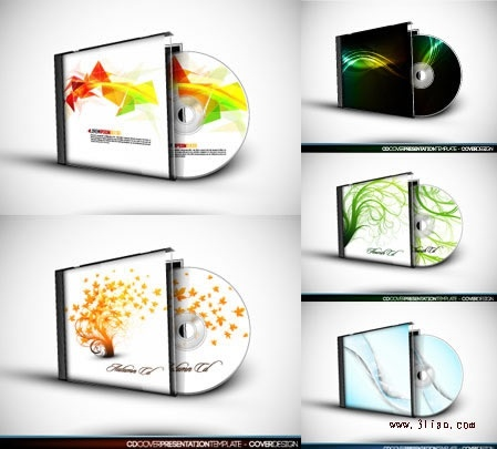 Cd box templates colored modern abstract season themes Free vector