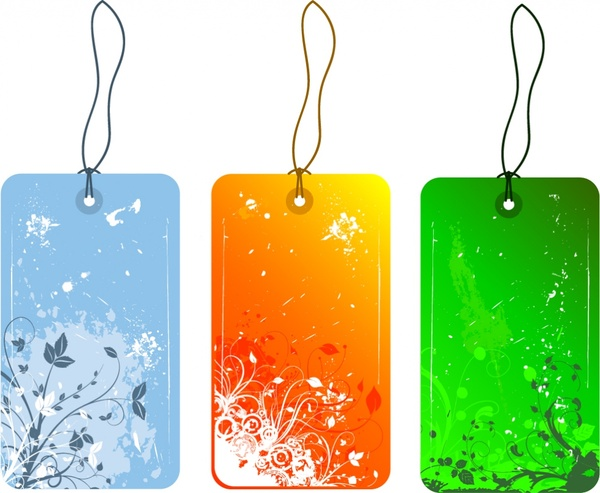 Hang tags templates nature theme colored retro design Free vector in
