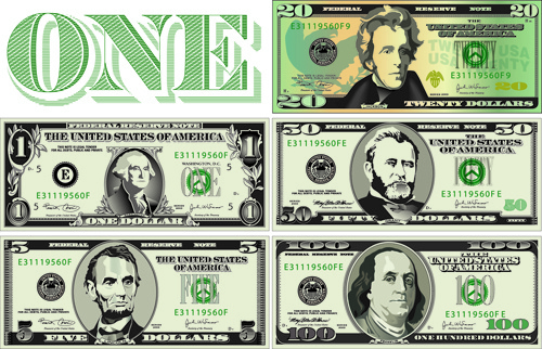 Vector money with dollars design template Free vector in