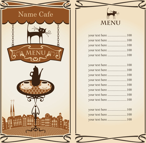 Vector of vintage cafe menu background art Free vector in