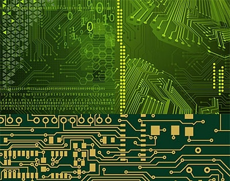 Circuit board background template green realistic design Free vector - circuit design background