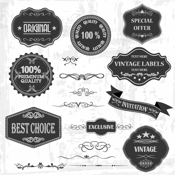 Vintage Labels and Ornaments Free vector in Adobe Illustrator ai - label