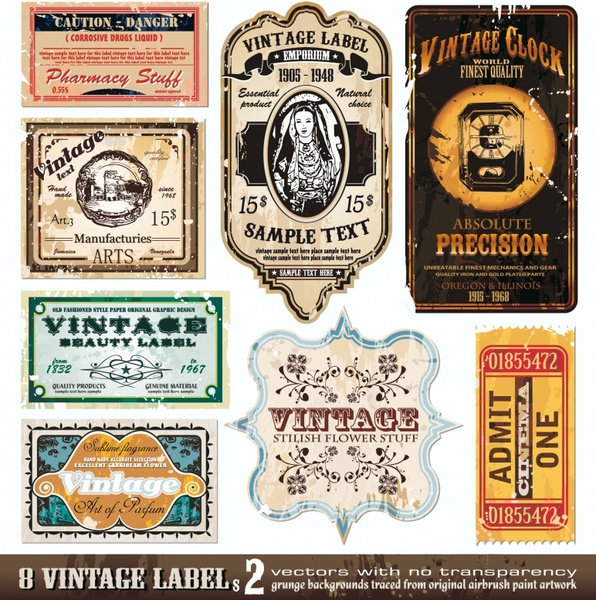 Vintage wine label collection retro free vector download (21,069