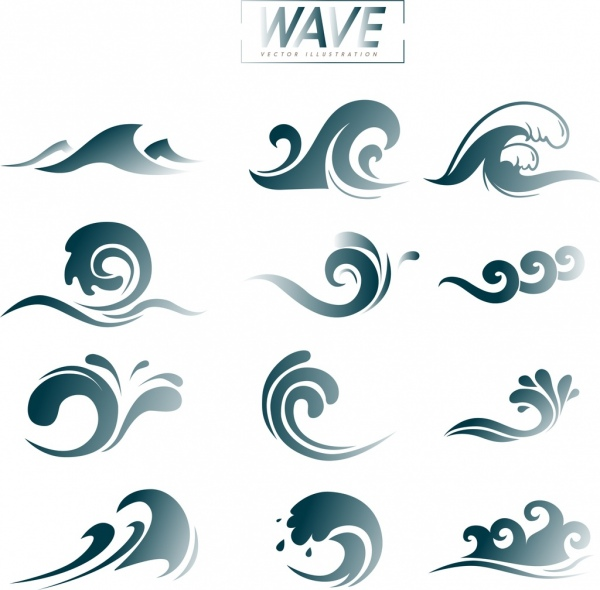 Wave design elements curved lines decoration Free vector in Adobe
