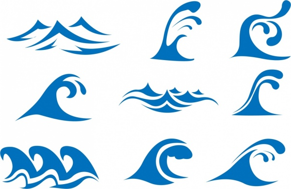 Wave icons collection blue curves design Free vector in Adobe