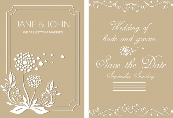 Wedding card template brown design classical decoration Free vector