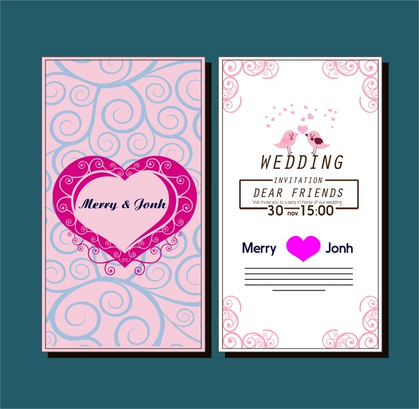 Wedding card template with hearts birds curved pattern Free vector