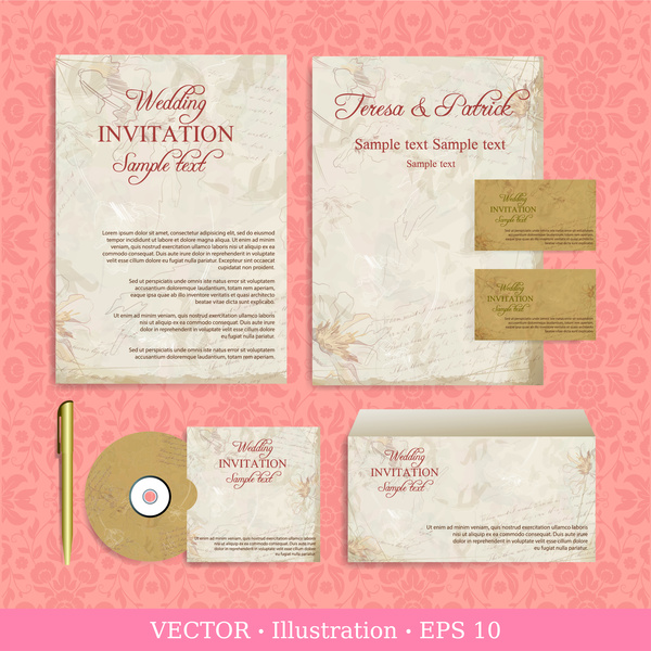 Wedding invitation card design illustrations with retro background
