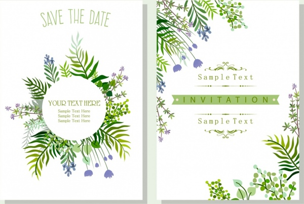 Wedding invitation card template nature theme green leaves Free