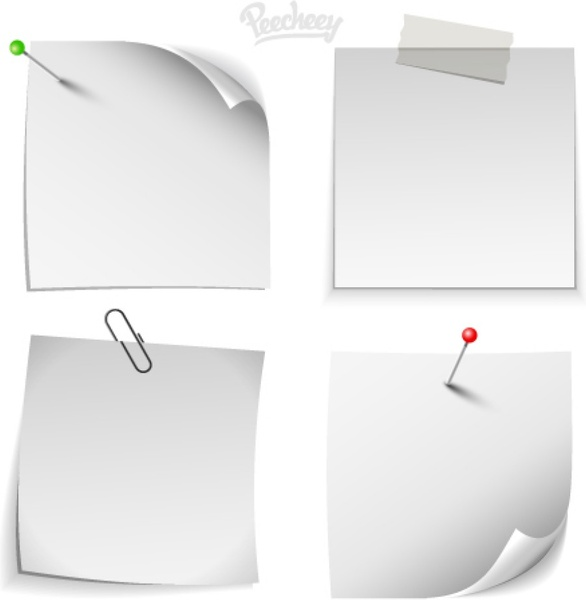 White note paper templates Free vector in Adobe Illustrator ai ( ai - note paper template